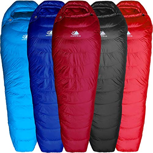 Hyke & Byke Shavano 32 Degree F 650 Fill Power Hydrophobic Down Sleeping Bag with Allied LofTech Base - Ultra Lightweight Men's and Women's Mummy Bag Designed for Summer Backpacking ()