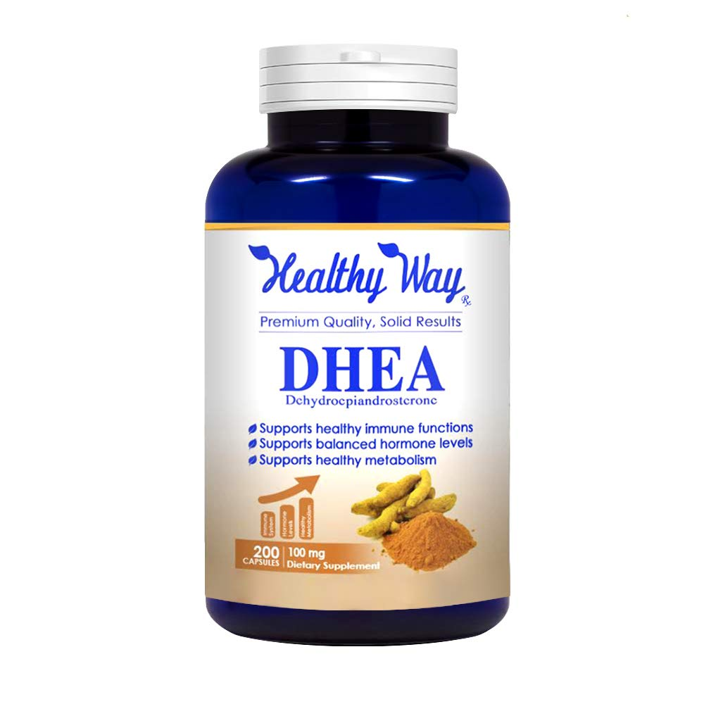 Healthy Way Pure DHEA (100mg Max Strength, 200 Capsules) Promotes Balanced Hormone Levels for Women & Men - Natural DHEA Supplement Pills Supports Healthy Metabolism, Libio, Brain Function & Energy