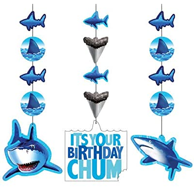 Creative Converting Shark Splash Hanging Decorations, 3 Pack (995887): Childrens Party Decorations: Kitchen & Dining