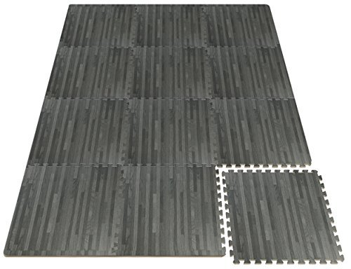 Sorbus Wood Floor Mats Foam Interlocking Wood Mats Each Tile 4 Square Feet 3/8-Inch Thick Puzzle Wood Tiles with Borders – for Home Office Playroom Basement (12 Tiles 48 Sq ft, Wood Grain - Gray) by Sorbus (Image #6)