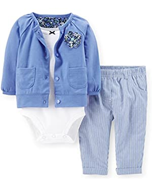 Baby Girls' 3-Piece Jersey Cardigan Set - Blue - Floral (9 Months)