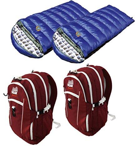 Alpinizmo High Peak USA 2 Vector 38 Backpacks Red + 2 Kodiak 20 Sleeping Bags Combo, Red/Blue, One Size