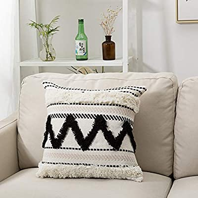 blue page Morocco Tufted Boho Throw Pillow Covers 18X18 Inch - Bohemian Woven Pillow Cases, Accent Pillows for Bed, Modern Tribal Textured Decorative Square Pillows Cover ONLY (Black Off White) - ✰ Unique Modern Design: Three pillow covers have a designer look and feel, will stands out in the mix. Fantastic quality will absolutely exceed your expectations. A textile fabric with an interesting and tribal design. Pairs well with Moroccan, Ethnic, Retro and Shabby Chic style decors. Choose only classic black and off white, using weaving, tufting, tassels craftsmanship, warm and comfortable. ✰ Rigorous Workmanship: The production process pays great attention to detail, ensuring that each seam of the pillowcase is strong and not easily damaged, and it has a hidden zipper to provide you with a durable and stylish pillowcase. The decorative tufting on the pillowcase makes it more beautiful. ✰ Durability & Comfort: Each throw pillow case boasts stunning aesthetics coupled with unrivaled quality and artistry. Exquisite workmanship enables tufting part dense and aesthetic. Even with pets, kids, and house guests - your new toss pillow covers will maintain their integrity and looks when subjected to everyday wear-and-tear. - living-room-soft-furnishings, living-room, decorative-pillows - 51zc0H%2Bit L. SS400  -