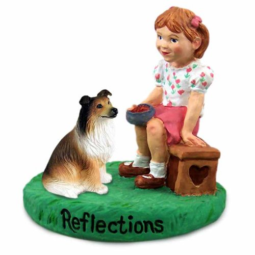Conversation Concepts Collie Sable Reflections w/Girl Figurine (Set of 6) ()