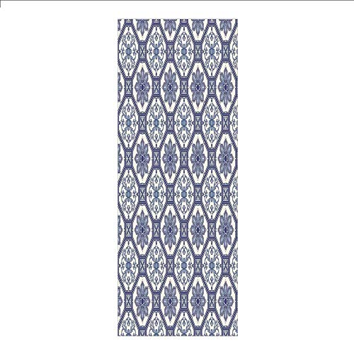 3D Decorative Film Privacy Window Film No Glue,Arabian,Arabesque Floral Oriental Persian Afghan Medieval Baroque Tiles Shapes Tribal Artsy,Blue White,for Home&Office ()