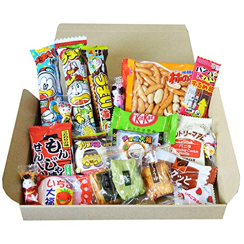 Kameda Crisps and OKAKI rice crackers Japanese Dagashi snack trial BOX set Kit Kat gift present with AKIBA KING sticker