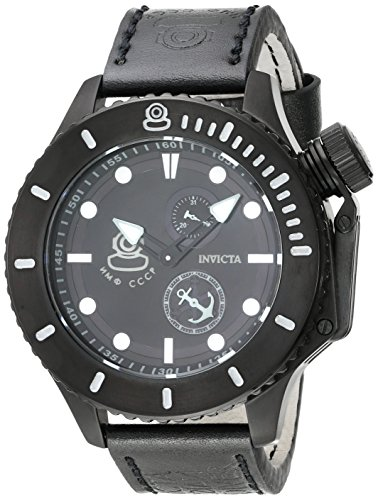 Invicta Men's Russian Diver Stainless Steel Swiss-Quartz Watch with Leather Calfskin Strap, Black, 22 (Model: 22013) (Invicta Watch Bands 22mm Leather)