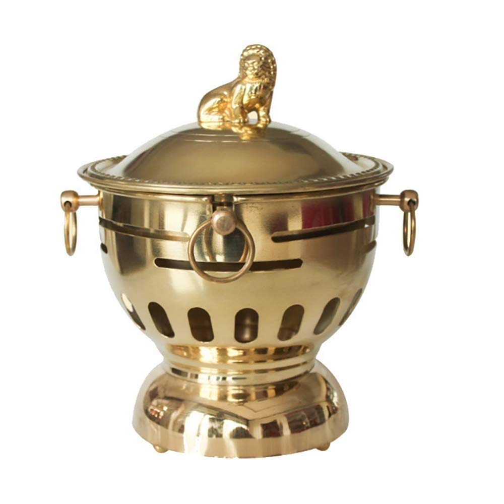 RMXMY Chinese Traditional Old Beijing Hot Pot Brass Pot Copper Single Small Hot Pot One Person One Pot Alcohol Copper Hot Pot Pure Copper Single Small Stove Thick Pot(18cm) by RMXMY