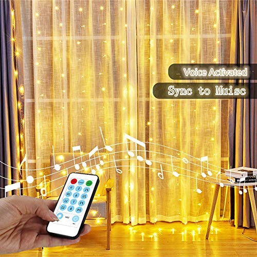 YEOLEH String Lights Curtain,Sound Activated Icicle Lights for Christmas/Wedding/Window,Sound Activated Function Can Sync with Any Voice (Warm White,7.9Ft x 5.9Ft)