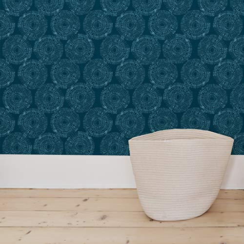 Flipside Painted Blue Teal Circles. Easy to Apply and Easy to Remove Pre-Pasted Wall Paper That Will Not Damage Walls. Each roll is 18ft Long x 18in Wide. by - Blue Wallpaper Prepasted