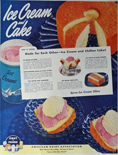 american-dairy-association-40s-print-ad-color-illustration-ice-cream-and-cake-original-vintage-1948-