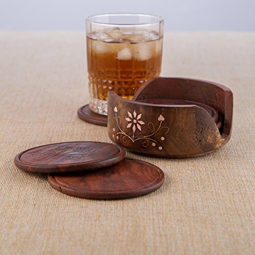 Rusticity Indian Sheesham Wooden Coaster w/Lotus Bowl Holder for Hot & Cold Drinks/Vintage Rustic Handmade Dining Ware Accessories/Table Decorative Handcrafted Round Plate Set of 6, 4 x 4 in