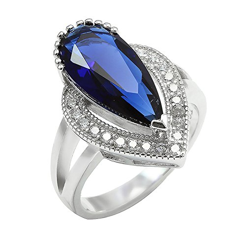 Teardrop Halo Split Shank Engagement Ring Pear Shape Simulated Deep Blue Sapphire Round CZ 925 Sterling ()