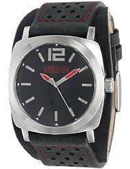 Kenneth Cole REACTION Unisex RK1329 Street Silver Case Black Dial Black Biker Cuff Strap Watch