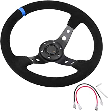 Yellow Car Steering Wheel Universal 35cm//14inch 6-Bolts Auto Car Napped Leather Aluminum Racing Steering Wheel with Horn Button with Mounting Screws and Wrench Easy to Install