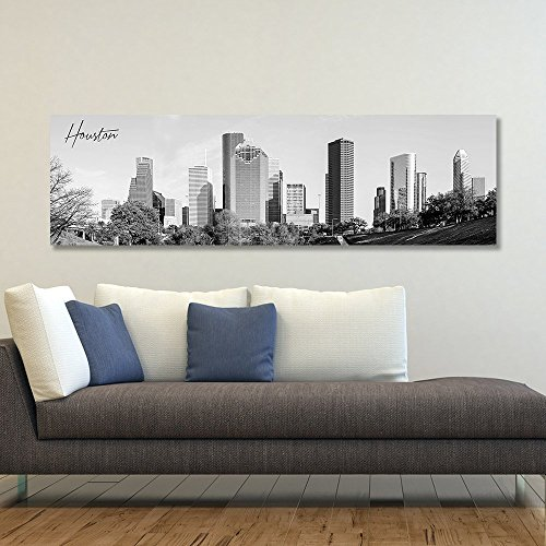 wallsthatspeak B&W Panoramic Houston 14x48 Wrapped Canvas Framed & Ready to Hang