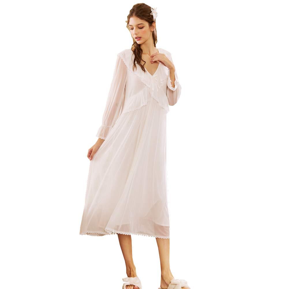 Rosa Indumenti da Notte Pigiameria Pigiama Pizzo Camicia da Notte Bianca Flaydigo Maniche Lunghe da Donna in Cotone Vittoriano