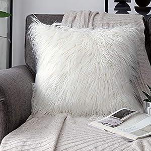 PHANTOSCOPE Decorative New Luxury Series Merino Style Fur Throw Pillow Case Cushion Cover 18″ x 18″ 45cm x 45cm (Off-White)