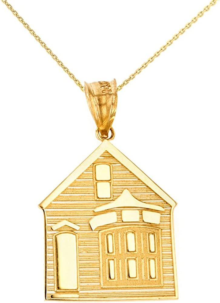 CaliRoseJewelry 14k Yellow Gold My House is a Home Charm Pendant Necklace