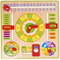 SN Toy Zone High Quality Wooden Educational Clock Set with Date,Week,Months,Clock,Season,Weather and Duration Puzzle Set
