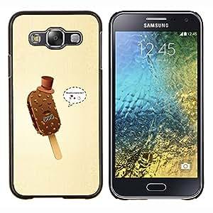 EJOOY---Cubierta de la caja de protección para la piel dura ** Samsung Galaxy E5 E500 ** --Helado Gentleman divertido