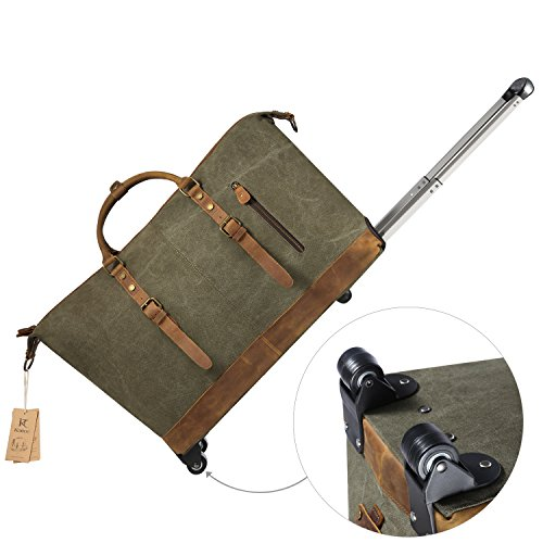 Kattee Luggage Rolling Duffel Bag Leather Trim Canvas Wheeled Carry-on Travel Bag 50L (Army Green) by Kattee (Image #3)