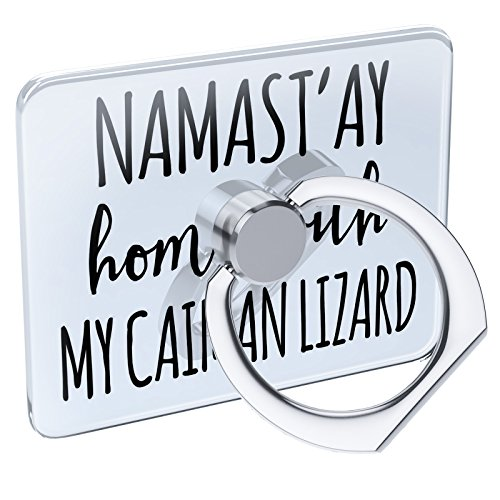Caiman Pedestals - Cell Phone Ring Holder Namast'ay Home With My Caiman Lizard Simple Sayings Collapsible Grip & Stand Neonblond