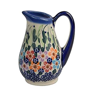 Traditional Polish Pottery, Handcrafted Ceramic Creamer 100ml, Boleslawiec Style Pattern, J.301.Daisy