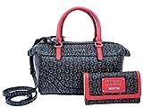 GUESS Logo Satchel Tote Bag Handbag & Wallet Set - Natural / Red