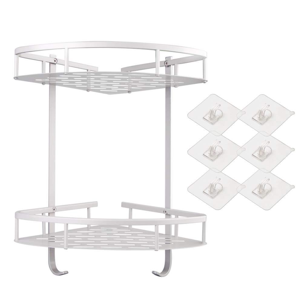 Shower Caddy Bathroom Shelf [ No Drilling ] Aluminum Corner Shower Storage Durable Shower Shelves Storage Shelf Adhesive Suction Corner Shelves 6PCS Sticker (2-Tier) Bella Elegance