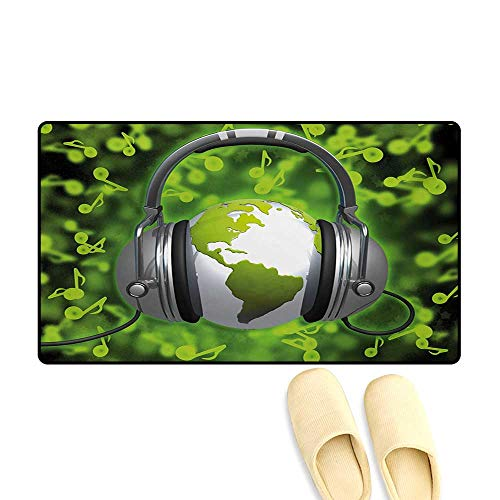 Bath Mat,World of Music Themed Composition DJ Headphones Musical Notes and Earth Globe,Doormats for Inside Non Slip Backing,Lime Green ()