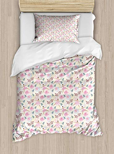 (Luxury Ballerin2 Piece Bedding Set Twin Size, Pastel Love Dancer Fairy with Wings Flying with Roses and Floral Motifs Print, 2PCS Duvet Cover Set with 1 Pillow Case for Kids/Teens/Children Room)