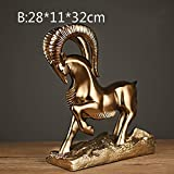 BWLZSP 1 PCS Resin technology business gifts American style antique bronze home furnishings portraits sculpture bighorn LU622433 (Color : B)