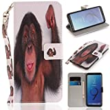 Misteem Case for Samsung Galaxy S9 Plus Animal, Cartoon Anime Comic Leather Case Wallet with Bookstyle Magnetic Closure Card Slot Holder Flip Cover Shockproof Slim Creative Pattern Shell Protective Cover for Samsung Galaxy S9 Plus [Monkey]