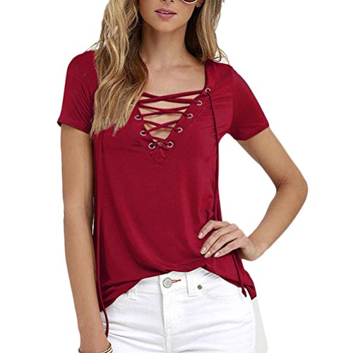 Zhhlinyuan Moda Summer Ladies Tops Slim String Short Sleeves Tshirts Solid Color Simple T-shirts para Women Dark Red