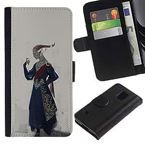 Billetera de Cuero Caso Titular de la tarjeta Carcasa Funda para Samsung Galaxy S5 V SM-G900 / Royal Ruler Art King Outfit Attire Hairstyle Golden / STRONG