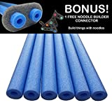 Oodles of Noodles Deluxe Foam Pool Swim Noodles - 6 Pack Blue 52 Inch Wholesale Pricing Bulk Pack and Free Connector