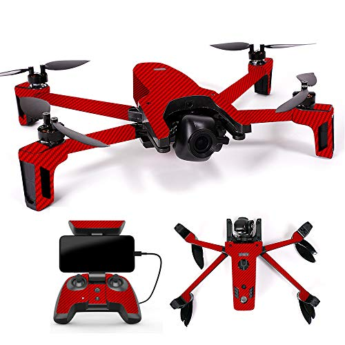 MightySkins Skin for Parrot Anafi Drone - Red Carbon Fiber | Protective, Durable, and Unique Vinyl Decal wrap Cover | Easy to Apply, Remove, and Change Styles | Made in The USA