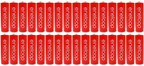 New ''Red'' Panasonic Eneloop 32 Pack AA NiMH Pre-Charged Rechargeable Batteries -PLUS BATTERY HOLDER- Rechargeable 2100 times by Eneloop