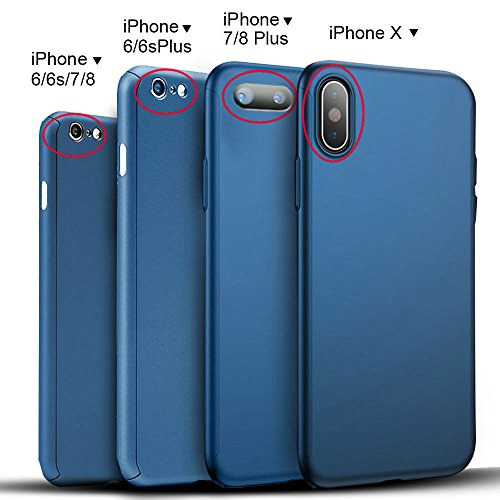 Ultra Thin Hard Case Cover For iPhone X 6 6S 7 8 iPhone8 Plus + Screen Protector (Blue, iPhone 7)