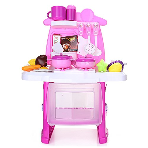 Kitchen Cooking Role Pretend Play Toy Cooker Set (Pink) - 6
