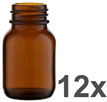 12 x cuello largo botella de 50 ml de vidrio ámbar sin rosca ***