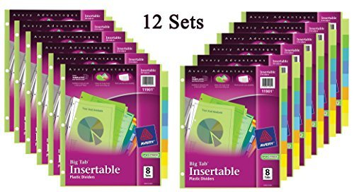 Avery Big Tab Insertable Plastic Dividers, 8-Tabs, 12 Sets