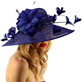 Demure Dome Sinamy Butterfly Floral Feathers Derby Floppy Dress Wide Hat Blue