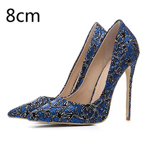 Mujer Mixed Hoesczs Partido Bombas on Mujeres 33 Delgadas De Tacón Más 8cm El Tamaño 45 Colors Pie Nuevas Acentuado Alto Slip Heel Ocasional Shoes Blue Del Dedo 77qwTZrf