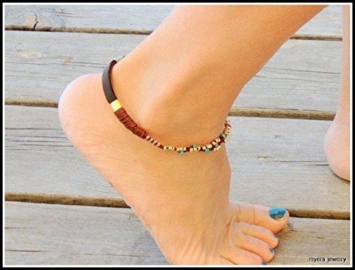 Boho Leather Anklet For Women Ankle Bracelet With Golden Flowers