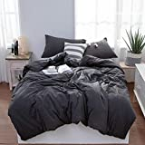 LIFETOWN Jersey Knit Cotton Duvet Cover Queen Full Size Dark Gray Duvet Cover Set 3 Pieces, Simple Solid Design, Super Soft and Easy Care
