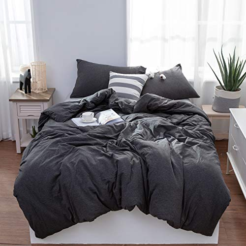 LIFETOWN Jersey Knit Cotton Duvet Cover Queen Full Size Dark Gray Duvet Cover Set 3 Pieces, Simple Solid Design, Super Soft and Easy Care ()