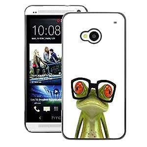 A-type Arte & diseño plástico duro Fundas Cover Cubre Hard Case Cover para HTC One M7 (Nerd Frog Glasses Sad White Green)
