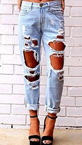 Femmes Fashion Trou Clair Trousers Cass Jeans Pantalons Bleu New Denim Casual dfEqawdIU